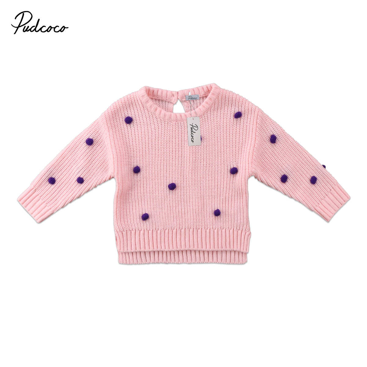 81b63ebf4a00 Brand New 2018 pudcoco Newest Arrivals Girls Kids Winter Knite Sweater Baby  Knitwear Pullover Tops Sleeve