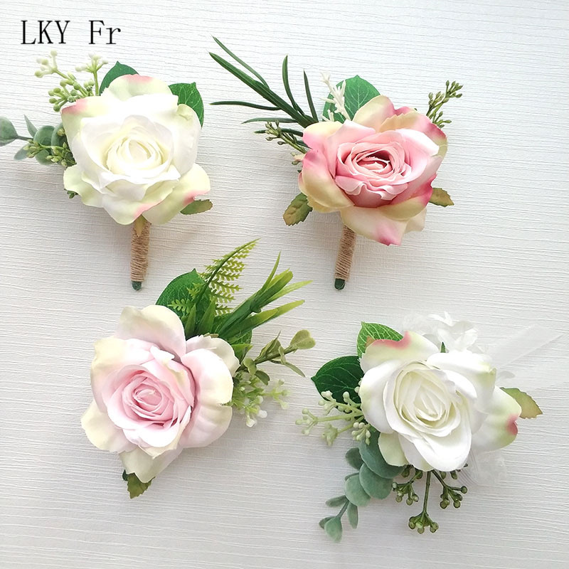 LKY Fr Boutonniere Corsage Silk Wedding Bracelet Bridesmaid Groom Boutonniere Buttonhole Wedding Planner Marriage Corsage Flower