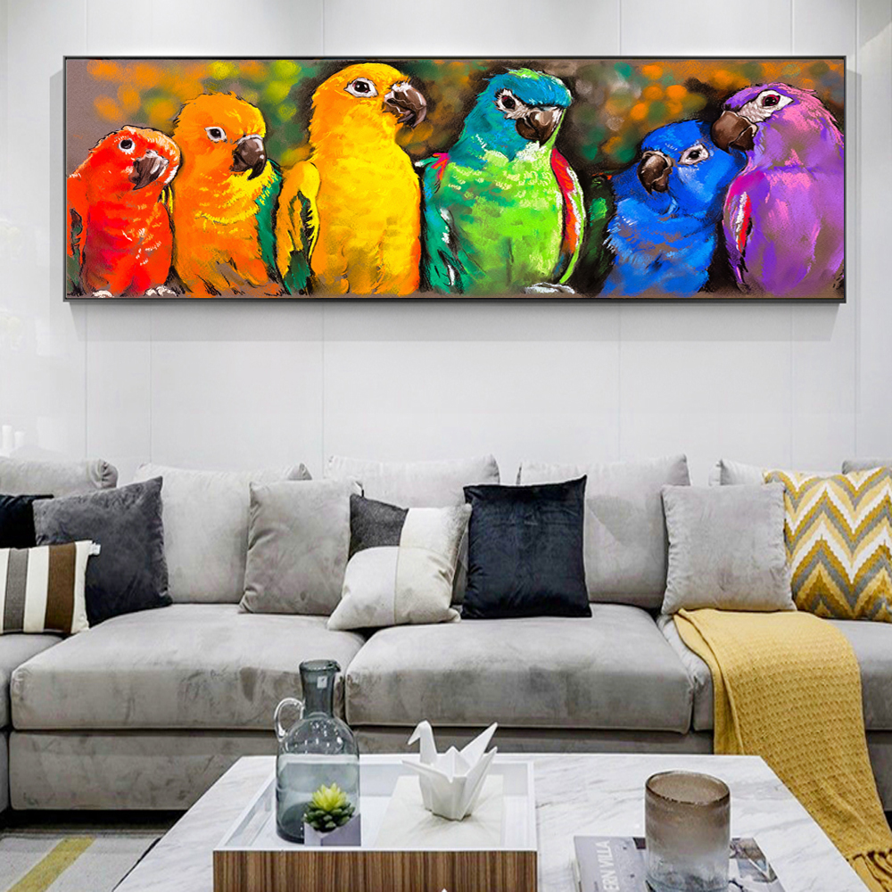 Watercolor Animal Abstract Canvas Art Wall Painting Parrot Modern Pop Graffiti Art Posters And Prints For Bed Room Cuadros Decor