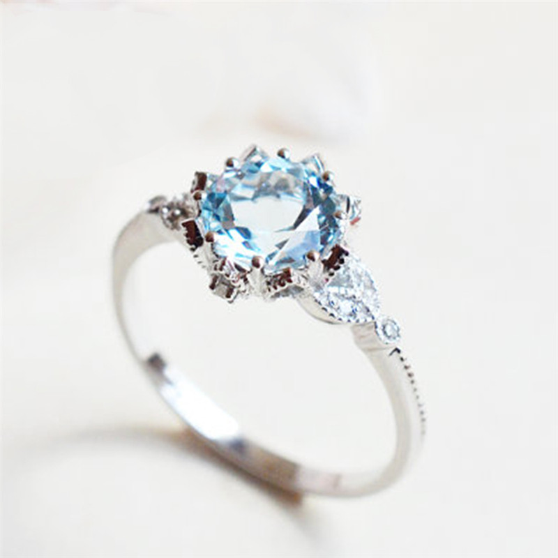 ROXI New Silver Color Vintage Floral Rings For Women Blue Zircon Jewelry Bague Bijoux Femme Wedding Engagement Ring Accessories
