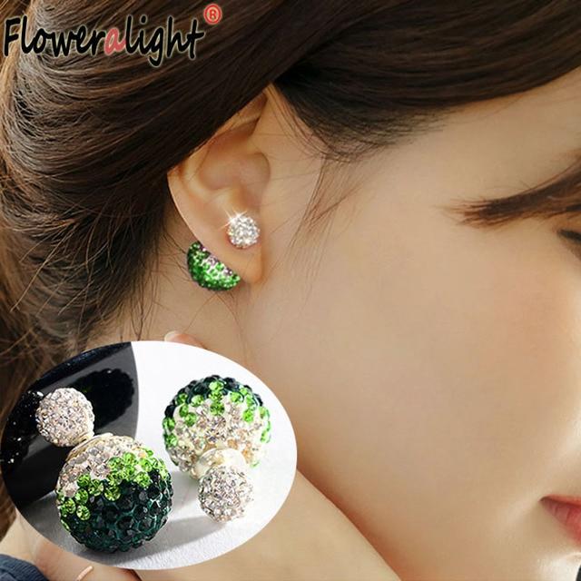 Cute Double Small Crystal Ball Earings Fashion Sided Earring Aros Rhinestone Shambhala Stud Earrings For Women Girls Jewelry