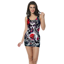 3D Print womens clothing tank top dress Gothic skull girl straight sleeveless Quality quality  Dropshipping