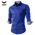 Men Shirt Long Sleeve 2017 Brand Men Shirts Casual Male Slim Fit Fashion Printed Plaid Chemise Mens Camisas Dress Shirts 4XL ZYM