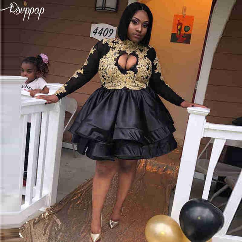 Cute High Neck Long Sleeve Gold Lace African Black Satin Elegant Girl Short   Prom     Dresses   2019