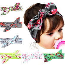 2017 Fashion cute girls floral print headbands with ears  Korean hair accessories for children multicolors 12pcs/lot цена