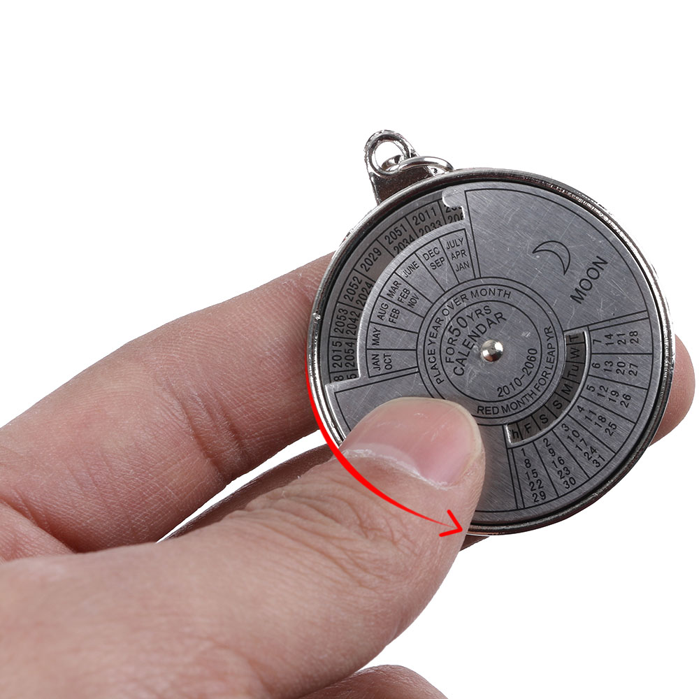 Outdoor EDC 50 Years Perpetual Calendar Keyring Unique Compass Metal KeyChain Gift Camping & Hiking Tool