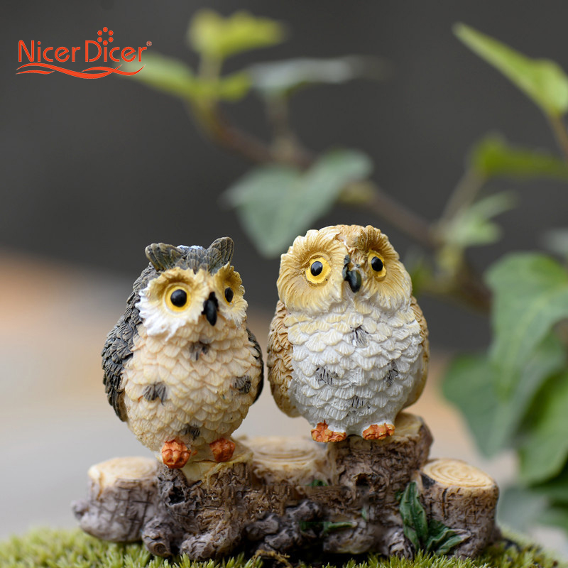 Online Shop 1 PC DIY Miniature Owls Dollhouse Bonsai Craft Garden