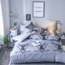 Brief gray Elk printing home bedding roupa cama set kids men full size bed 4 pieces modern family sheet