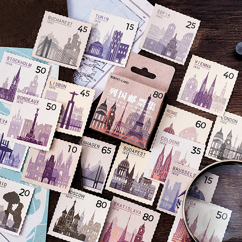 CXZY 45PC Vintage Stamp Album Small London Sticker Scrapbooking DIY Paper Seal Label Diary Bullet Journal Travel Post Gift 1T826