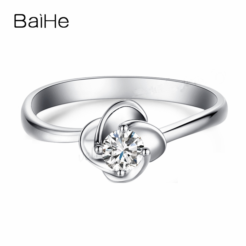 BAIHE Solid 14k White Gold(AU585) Cute 3.7mm Round cut White Cubic Zirconia Engagement Wedding Gift Fashion Trendy RingBAIHE Solid 14k White Gold(AU585) Cute 3.7mm Round cut White Cubic Zirconia Engagement Wedding Gift Fashion Trendy Ring
