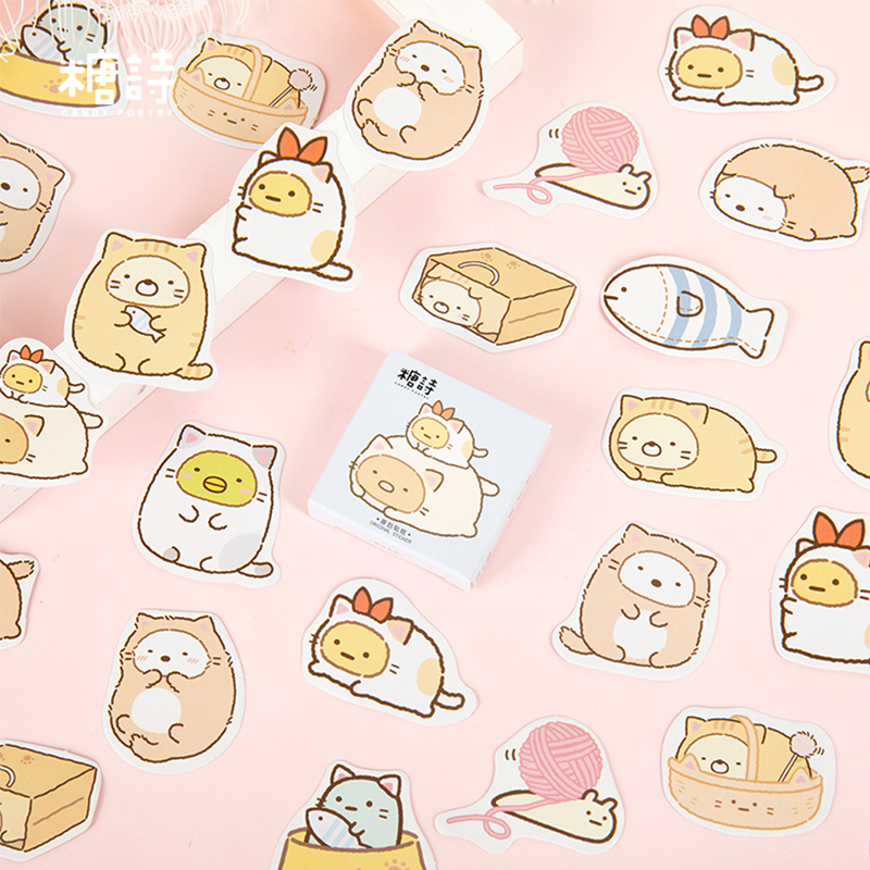 45 Pcs/lot Cute Cartoon Cat Animal Mini Paper Sticker Decoration DIY Ablum Diary Scrapbooking Label Sticker Kawaii