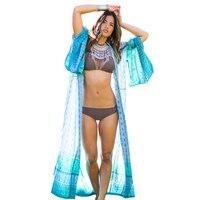 Summer Style Women Three Quarter Long Sleeve Long Kimonos Open Front Blouse Vintage Cardigans