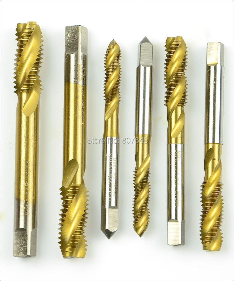 Купить 7 шт./компл. 3-12 мм tap & die set ручной инструмент титановым покрытием резки отверстий HSS краны набор спираль groove винтовой канавкой дешево