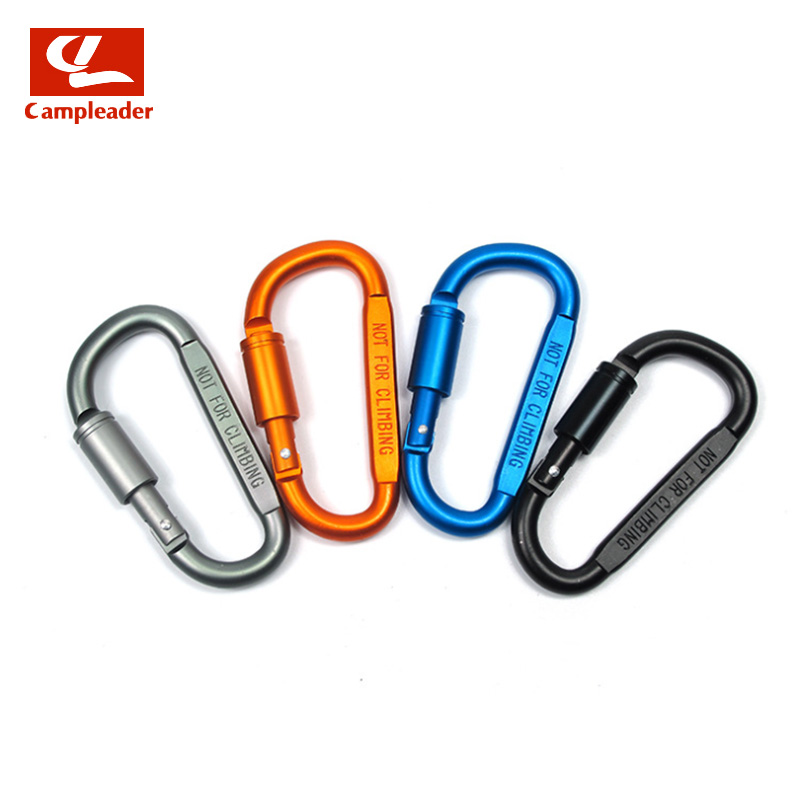 Campleader 1pc D-shaped with Nut Hanging Buckle Aluminum Alloy Nut Buckle Fast Hanging Outdoor Climbing Carabiner Buckle CL067