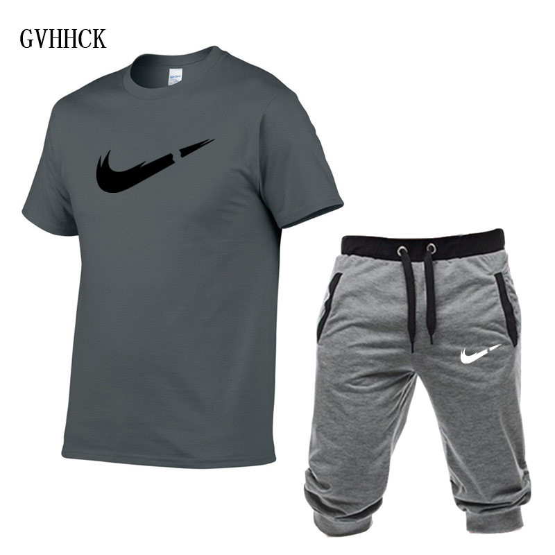 HTB1UtSjPAvoK1RjSZPfq6xPKFXan Summer New Tracksuit Men Shorts Casual Men's Sportswear Suit Shorts Brand Clothing Two Pieces Top Tee+Shorts Sweat Suits 2019