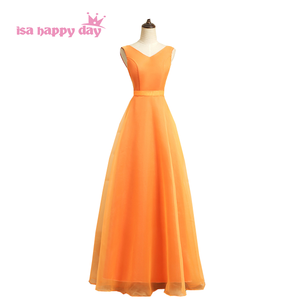 Modest Orange Tulle Ball Gown Long Fluffy V Neck Girls Party Prom