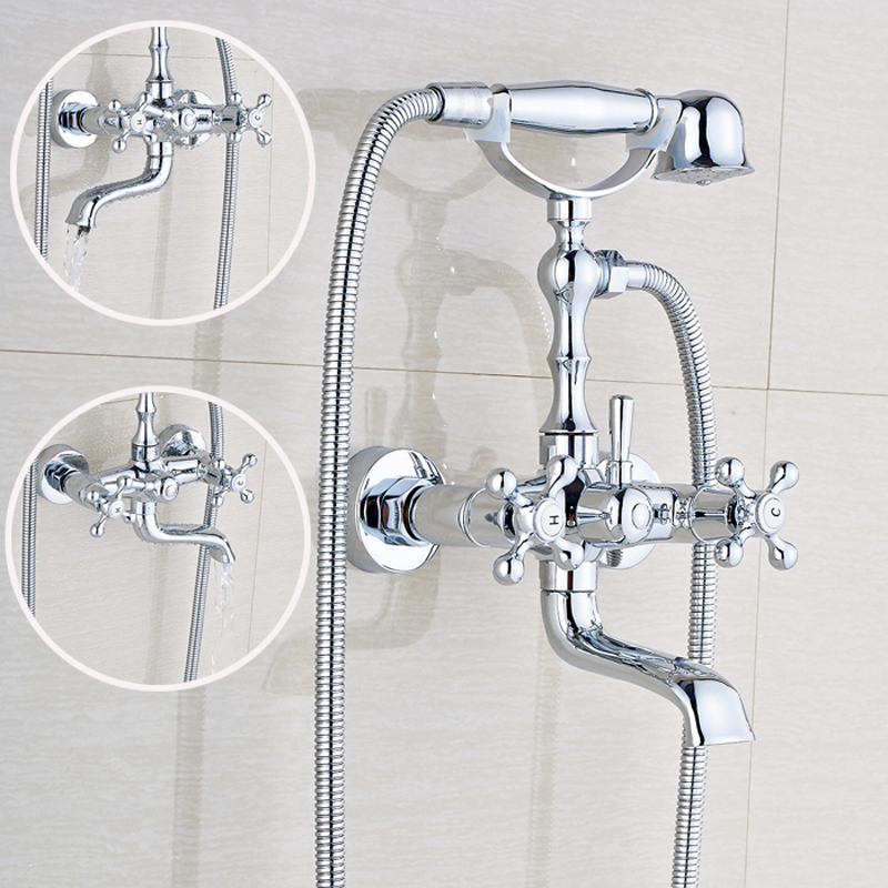 Chrome Polished Shower Faucet Dual Handle Mixer Tap Solid Brass Bathtub Faucet Wall Mount