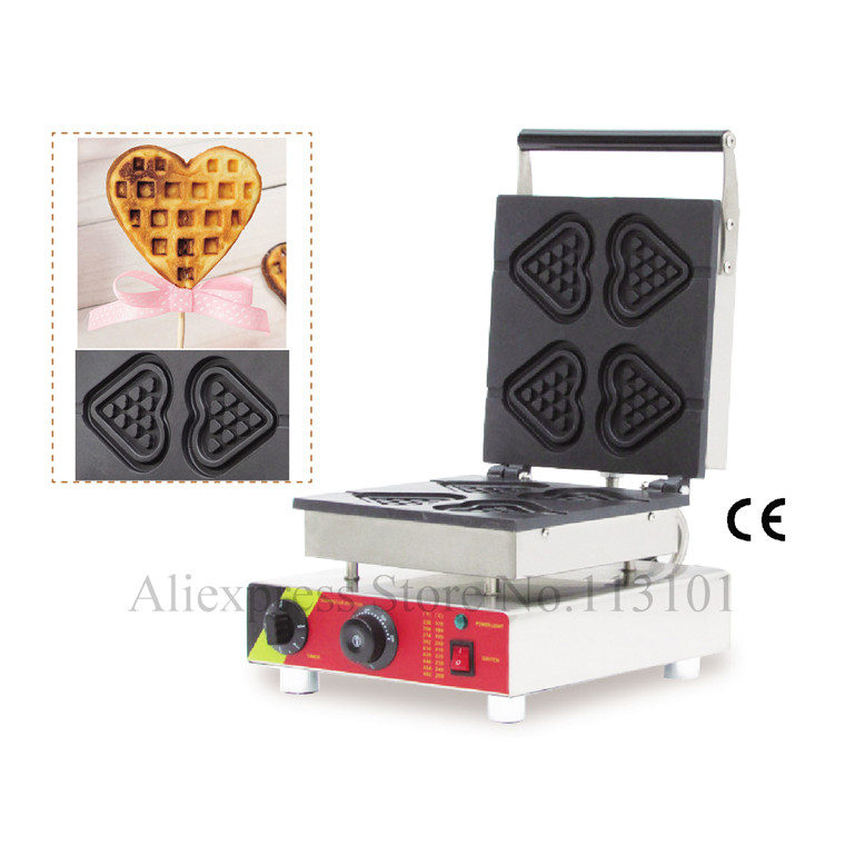 Heart-shape lolly waffle machine stainless steel heart love-shape waffle maker with 4 pcs moulds Non-Stick Cooking Surface