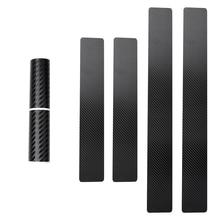 4Pc Black Car Door Stickers Carbon Fiber Plate Sticker Sill Scuff Cover Anti Scratch Decal Universal For All