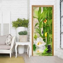 Наклейка на дверь, самоклеящаяся, белый лотос, для дверей, сделай сам, печать на холсте, художественная картина, домашний декор, Фреска, ремонт гардероба, наклейка