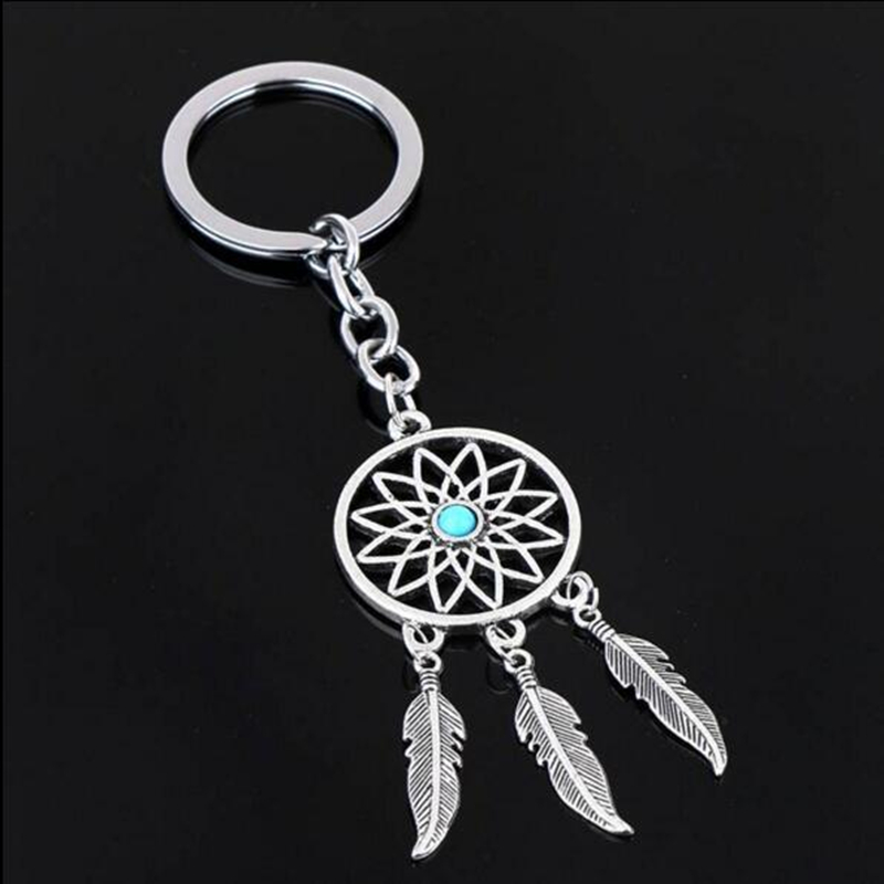 2020 NEW Fashion Feather Wind Chimes Dream Catcher Key Chain Holder Keyring Key Chain Rings Women Men Jewelry