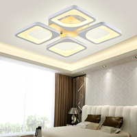 Square Modern LED Chandelier Lights Lamp 36w 108w Dinningroom Bedroom Acrylic Metal Dimmable Pandent Hanging Chandelier