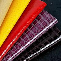 1 Meter Imiation Crocodile Print Leather Waterproof Pvc Fabric Red Gold Silver Black Thin Leatherette Tecido