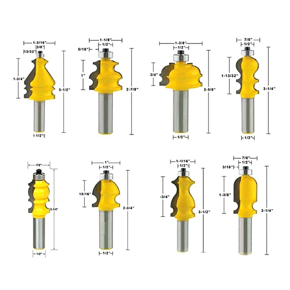 高硬度 10 ピース 1/2 ''ラウンドシャンク成形ルータービットセットフライストリミングカッター木製ドア MDF 固体木工ツール  グループ上の ツール からの フライスカッター の中 2