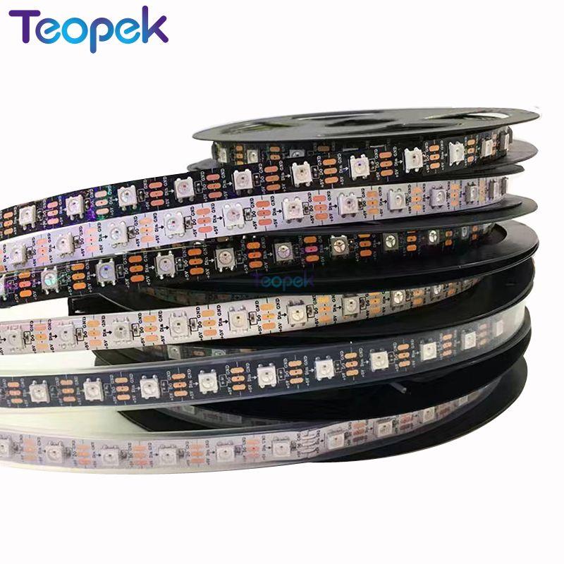 1m / 4m / 5m WS2812B LED pikselių juosta, WS2812 IC 30/60/144 pikselių, adresuojamas induvidual Full Color Black / White PCB, IP20 / IP67 DC5V
