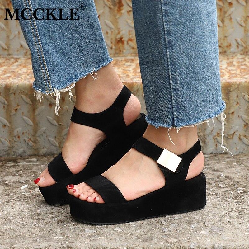 купить MCCKLE Plus Size Women Platform Wedge Sandals High Heels Female Flock Hook Loop Casual shoes For Girls Leisure Footwear по цене 574.58 рублей