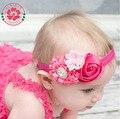 8pcs/lot NEW Infant Baby Rose Flowers Headband Satin Ruffled Flower Headbands Summer Style Girls Rhinestone Hair Accessories 586