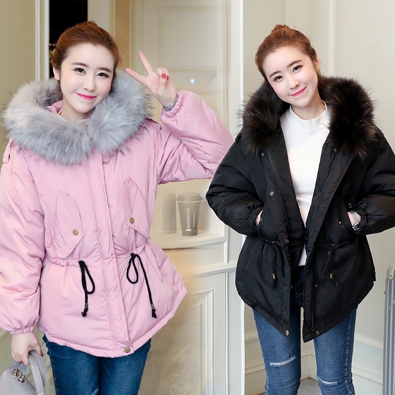 2017 autumn and winter new Korean version of the large fur collar cotton jacket jacket jacket lucky panda 2016 woman the new winter coat in the korean version of women s fur collar down cotton cultivation lkb021