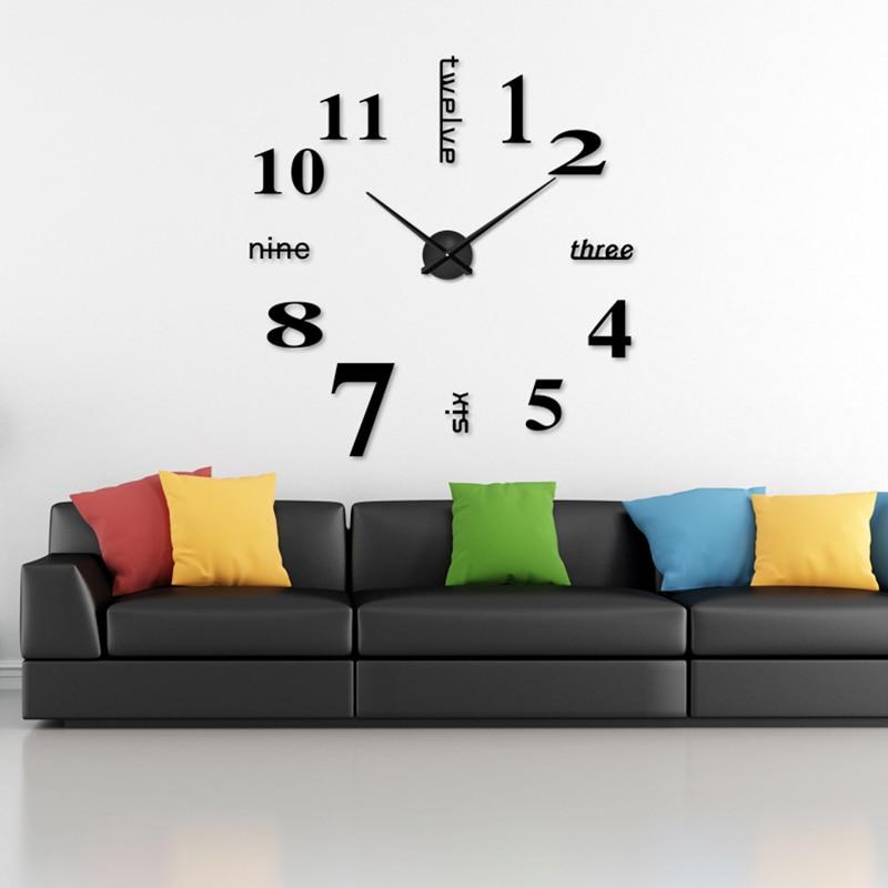 2019 arābu cipariem sienas pulkstenis Creative mūsdienu melns liels - Mājas dekors