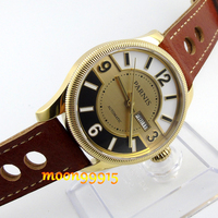 42mm Parnis yellow golden dial Sapphire Glass miyota Automatic mens Watch