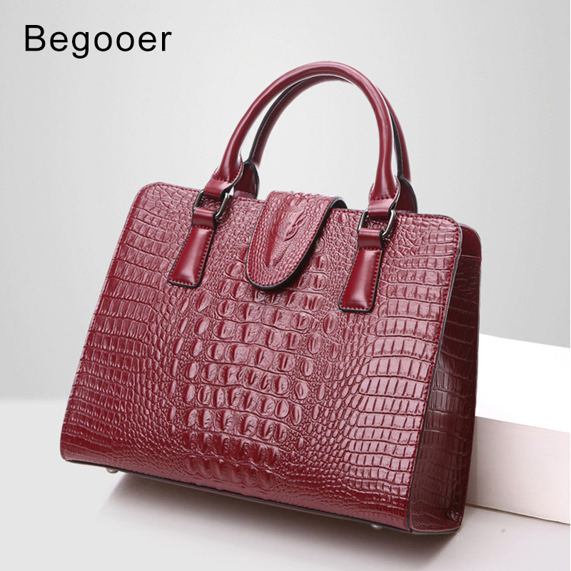Genuine Leather Women Bag Ladies 2018 New Crocodile Pattern Women Handbags Famous Brand Designer Totes Female Shoulder Bag