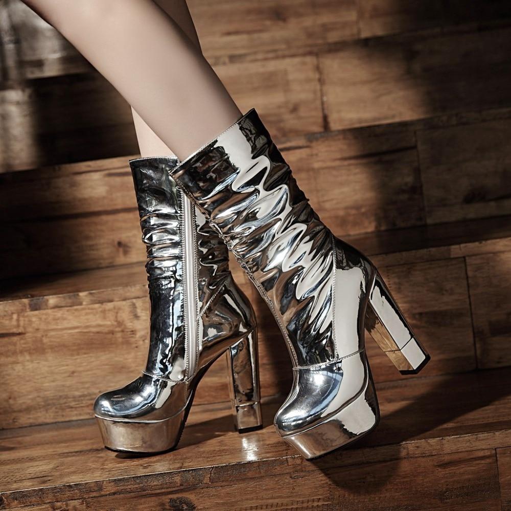 Zapatos silver Warm Para Mujeres De Plush Mitad Club Ternero Otoño Plush 43 2018 Bota 34 Botas Marca Short Sexy Kickway Alta Tamaño Gran Plataforma Tacones Femenina Silver Mediados wTvT4g
