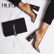 Plus Size 35-42 Sexy Transparent Leopard Pattern Thick High Heels Women's Sandals Fashion Half Slippers NIUFUNI New Ladies Shoes