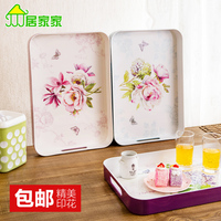 Large high grade thick melamine tea tray, fruit tray Household rectangular glass compartment tray