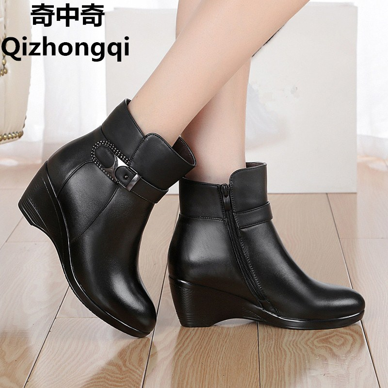 Women s boots genuine leather shoes 2017 new winter wool boots non slip bottom slope with