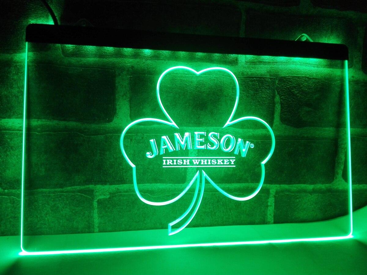 LE215 Jameson Whiskey Shamrock LED Neon Light Sign home