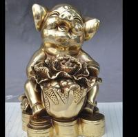 671115895*++mark china brass fengshui Zodiac Animal Pig Cabbage yuanbao wealth lucky statue