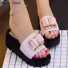 Women Slipper Sandals Heels Wedges Platform Peep Toe Bow Elegant Female Sandals Ladies Mules Clogs Summer Shoes Beach Flip Flops
