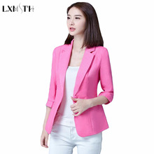 5XL Blazer Female Slim Single Button Korea Plus Size Blazers Women 3/4 Sleeve Spring Summer Thin Suit Coat Lady Office Jacket