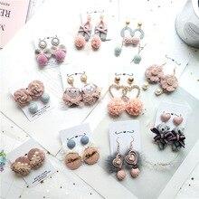 Korean Pink Designer Heart Cute Fall Winter Female Women Dangle Drop Earrings Fashion Jewelry Accessories Wholesale Gift-JQD5