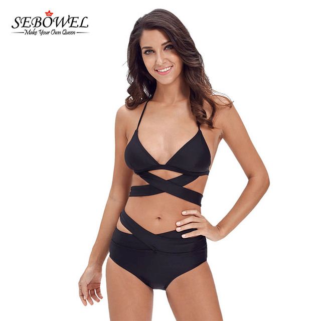 8c8af984b2322 SEBOWEL 2018 Black Bandage Bikini set Women Sexy Cut Out Swimsuit High Waist  Plus size Swimwear Halter 2pcs Bathing Suit XL XXL