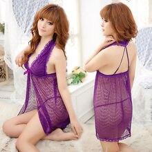 Romantic Purple Lingerie Sheer Floral Lace Babydoll Dress Chemise Nightie XS S M