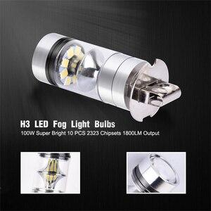 Image 4 - Vehemo farol de led para névoa, 2 peças 100w h3 12/24v 10000lm branco farol de carro 6000k
