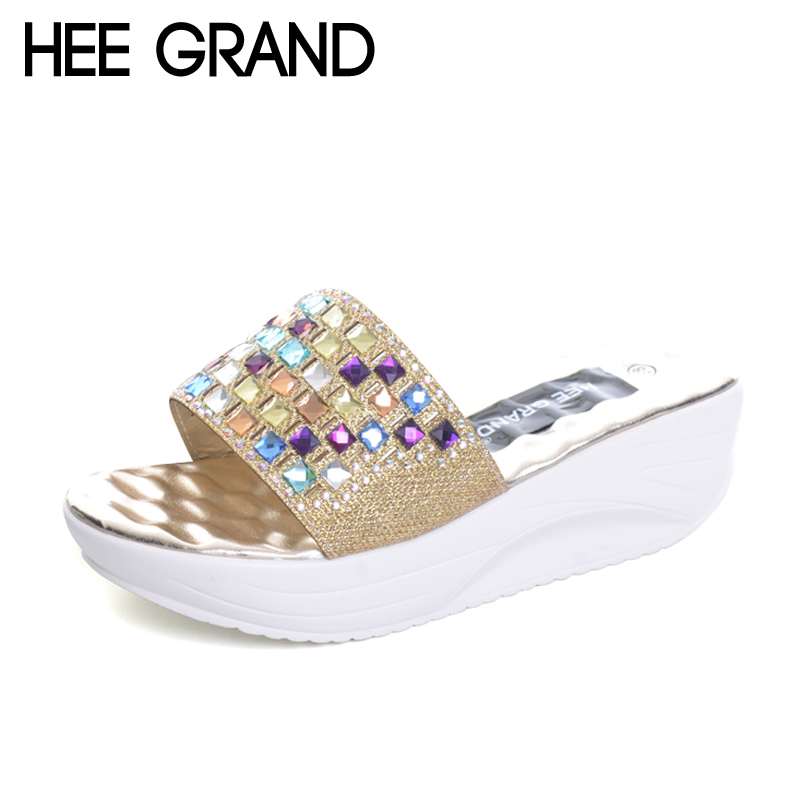 HEE GRAND Gold Silver Wedges Slippers Summer Platform Shoes Woman Slip On Creepers Rhinestone Crystal Casual Slides XWZ2264 hee grand 2017 creepers summer platform gladiator sandals casual shoes woman slip on flats fashion silver women shoes xwz4074
