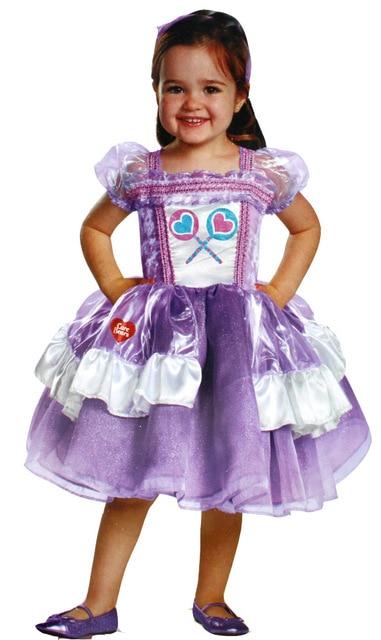 Free Shipping Kid Children Halloween Party Purple Care Bears Dress