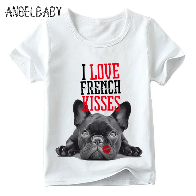 Home Children French Bulldog Kisses Print T Shirt Summer Kids Casual Short Sleeve Tops Baby Boys/girls Funny Dog T-shirt,hkp2123